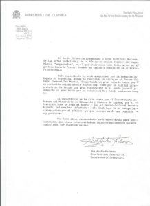 RECOMENDACION MINISTERIO DE CULTURA