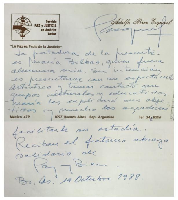 tarjeta de presentación escrita por Adolfo Pérez Esquivel
